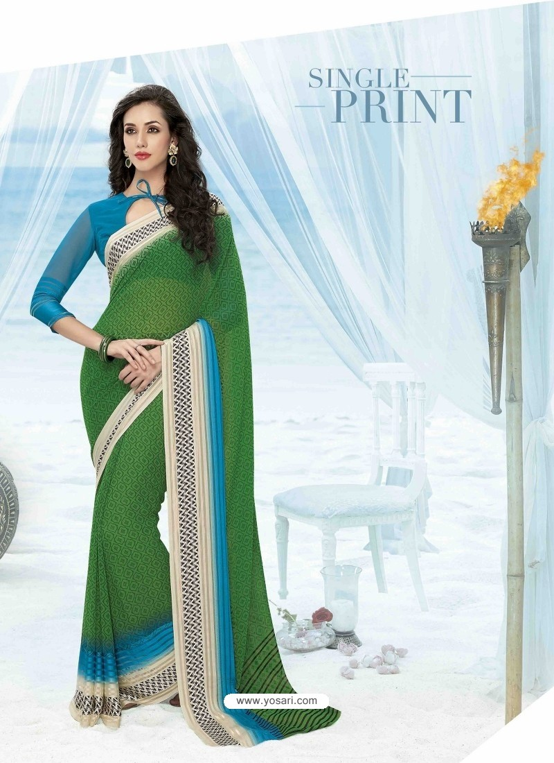 Green Print Work Saree