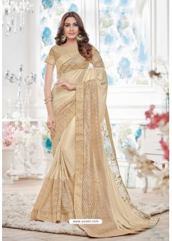 Adorable Beige Lycra Saree