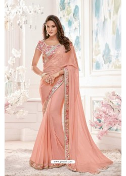 Awesome Peach Lycra Saree