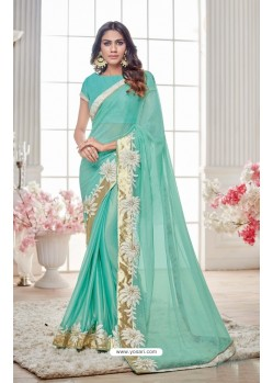Asthetic Jade Green Lycra Saree
