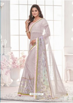 Fashionable White Lycra Saree