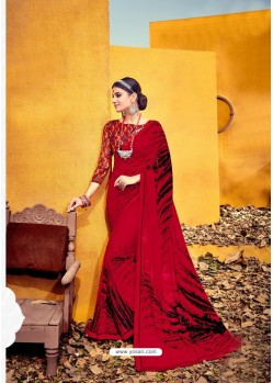 Spectacular Red Weight Less Casual Saree
