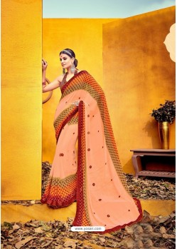 Unbelievable Peach Weight Less Casual Saree