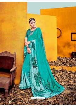 Mind Blowing Turquoise Weight Less Casual Saree