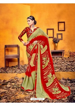 Pretty Olive Green Weight Less Casual Saree