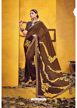 Pleasing Brown Weight Less Casual Saree