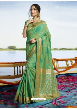 Enhanting Aqua Mint Cotton Silk Saree