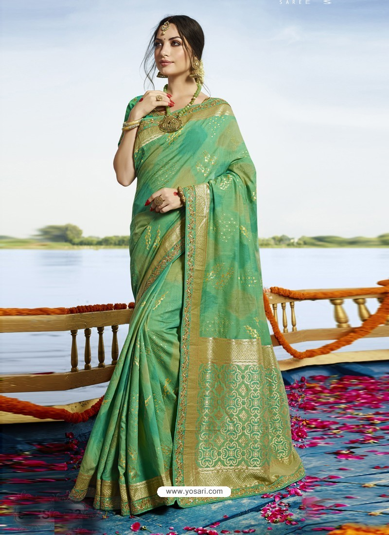 Enhanting Aqua Mint Cotton Silk Saree