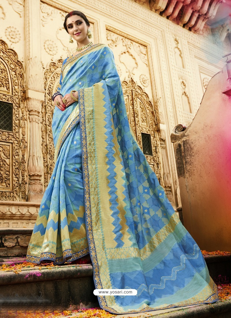 Graceful Blue Cotton Silk Jacquard Saree
