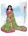 Green And Pink Print Work Saree