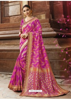 Magenta Cotton Silk Jacquard Saree