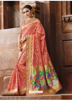 Astounding Peach Cotton Silk Jacquard Saree