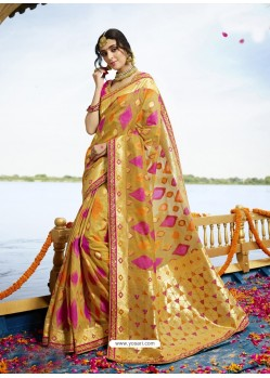 Mustard Cotton Silk Jacquard Saree