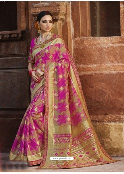 Incredible Pink Cotton Silk Jacquard Saree