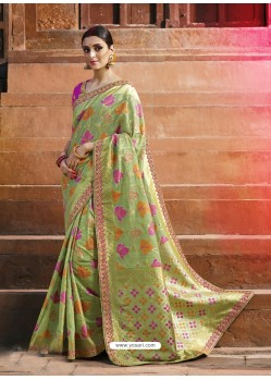 Green Cotton Silk Jacquard Saree
