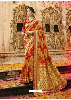 Perfect Mustard Cotton Silk Jacquard Saree