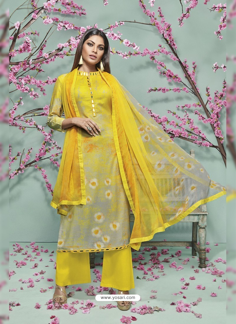 Yellow Lawn Cotton Print Work Suit