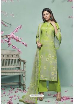 Green Lawn Cotton Print Work Suit