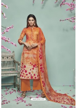 Orange Lawn Cotton Print Work Suit