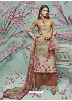 Brown Lawn Cotton Print Work Suit