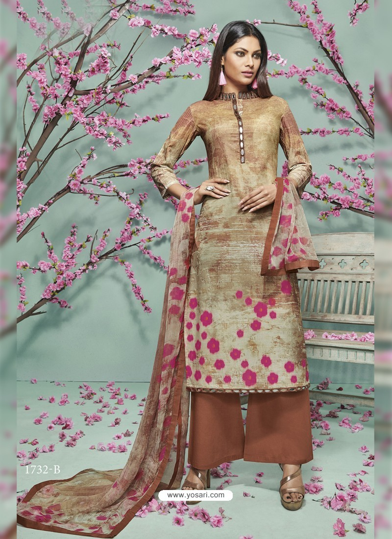 553c44d054 Buy Brown Lawn Cotton Print Work Suit | Palazzo Salwar Suits