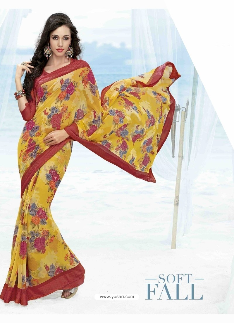 Yellow And Red Print Work Saree