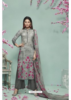 Grey Lawn Cotton Print Work Suit
