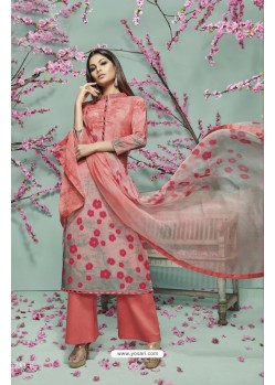 Peach Lawn Cotton Print Work Suit