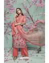 Peach Lawn Cotton Print Work Suit