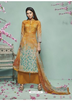 Mustard Lawn Cotton Print Work Suit