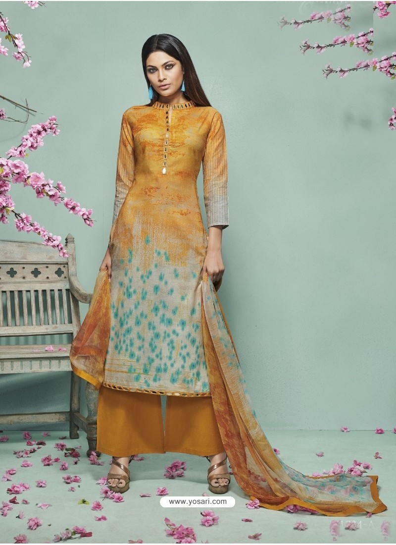 Mustard Lawn Cotton Print Work Suit