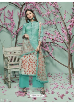Aqua Mint Lawn Cotton Print Work Suit