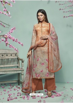 Dusty Pink Lawn Cotton Print Work Suit