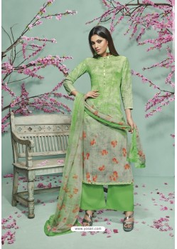Green Lawn Cotton Printed Suit