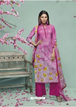 Pink Lawn Cotton Print Work Suit