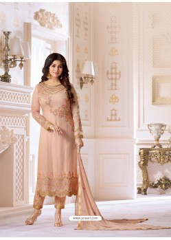 Dusty Pink Pure Georgette Embroidered Suit