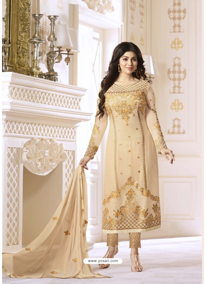 Beige Pure Georgette Embroidered Suit