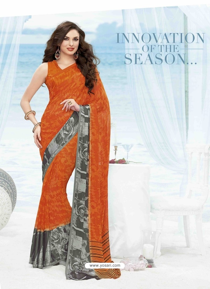 Orange Print Work Saree