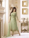 Olive Green Pure Georgette Embroidered Suit