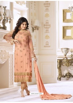 Peach Pure Georgette Embroidered Suit