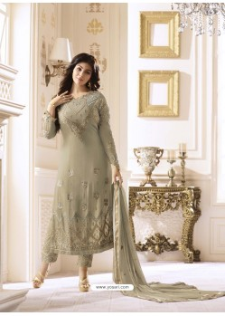Taupe Pure Georgette Embroidered Suit