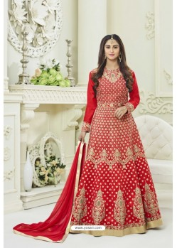 Red Silk Embroidered Floor Length Suit