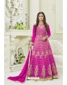 Pink Silk Embroidered Floor Length Suit