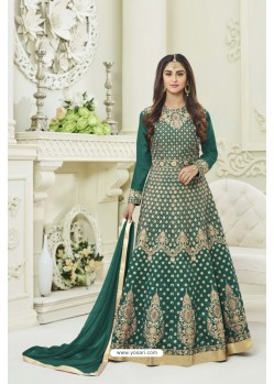 Green Silk Embroidered Floor Length Suit