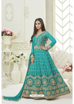 Turquoise Silk Embroidered Floor Length Suit