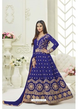Blue Silk Embroidered Floor Length Suit