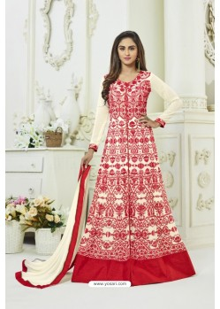 Cream Georgette Embroidered Floor Length Suit