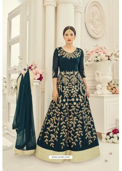 Tealblue Faux Georgette Embroidered Floor Length Suit