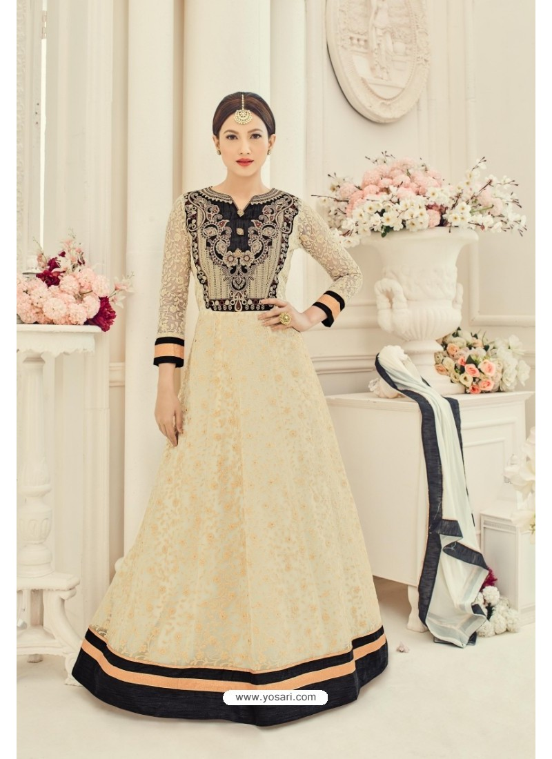 Off White Georgette Embroidered Floor Length Suit