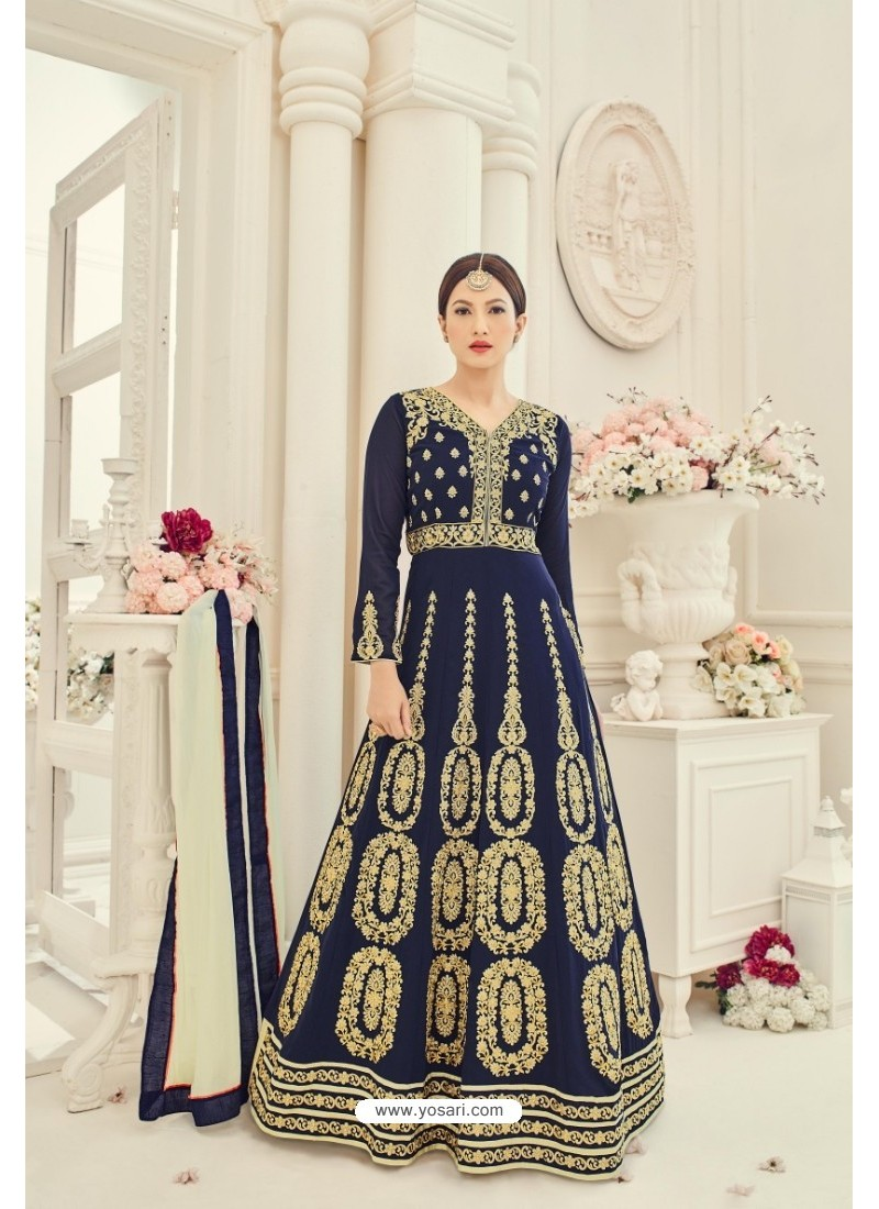 Navy Blue Faux Georgette Embroidered Floor Length Suit